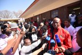 EFF Leader Julius Malema speaks to media at Mponegele Primary School in Polokwane, 3 August 2016, during the local government elections. Picture: Nigel Sibanda