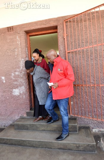 Malema's wife Mantwa Matlala, His grandmother,  EFF Leader Julius Malema  after casting their votes at Mponegele Primary School in Polokwane, 3 August 2016, during the local government elections. Picture: Nigel Sibanda