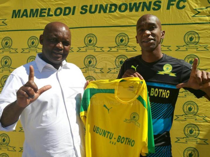Anele Ngcongca with Mamelodi Sundowns coach Pitso Mosimane.