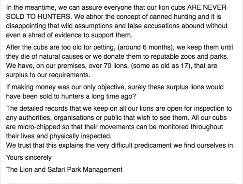 A screenshot of part of the Lion and Safari Park management's statement posted to their Facebook page.