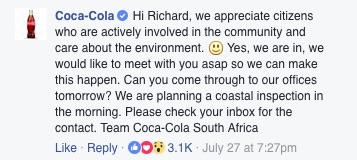 A screenshot of Coca-Cola's response to Richard McLennan's plea on Facebook. Picture: Facebook.