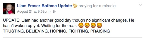 A screenshot from the Liam Fraser-Bothma Update Facebook page.