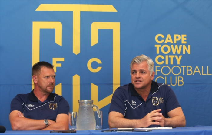 Cape Town City FC coach Eric Tinkler and owner John Comitis. Photo: Shaun Roy/Gallo Images