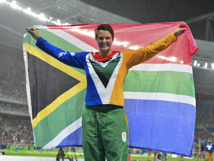 RIO DE JANEIRO, BRAZIL - AUGUST 18: Sunette Viljoen of South Africa celebrates after finishing second and winning the silver medal in the women's javelin during the evening session on Day 13 Athletics of the 2016 Rio Olympics at Olympic Stadium on August 18, 2016 in Rio de Janeiro, Brazil. (Photo by Roger Sedres/Gallo Images)