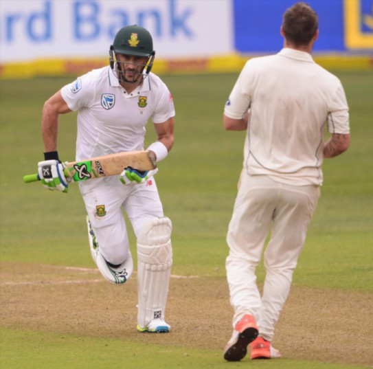 Faf du Plessis of the Proteas during day 1 of the 1st Sunfoil International Test match between South Africa and New Zealand at Sahara Stadium Kingsmead on August 19, 2016 in Durban, South Africa. (Photo by Lee Warren/Gallo Images)