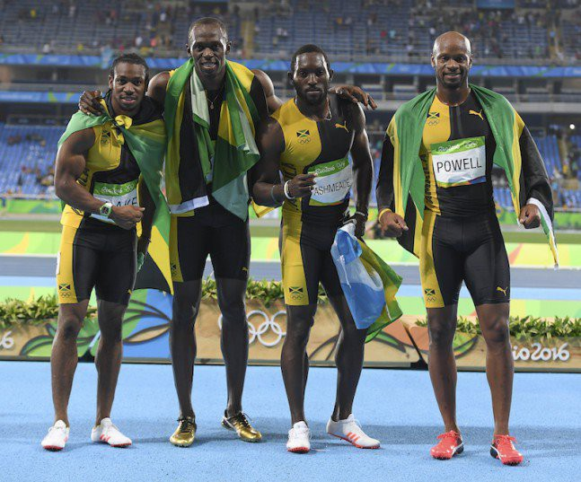 RIO DE JANEIRO, BRAZIL - AUGUST 19: Yohan Blake, Usain Bolt, Nickel Ashmeade and Asafa Powell of Jamaica which won the mens 4x100m relay final during the (EVENT) on Day 14 Athletics of the 2016 Rio Olympics at Olympic Stadium on August 19, 2016 in Rio de Janeiro, Brazil. (Photo by Roger Sedres/Gallo Images)