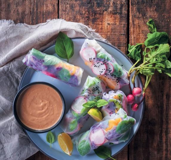 Radish Vietnamese spring rolls.