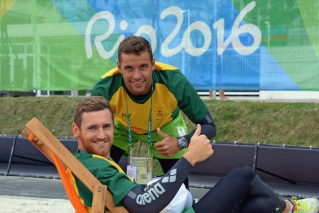 Cameron van der Burgh and Chad le Clos during the Team SA Swimmers interview session at the Olympic Village on August 02, 2016 in Rio de Janeiro, Brazil. Picture: Gallo Images