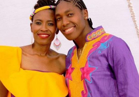 Violet Raseboya and Caster Semenya at their wedding ceremony.