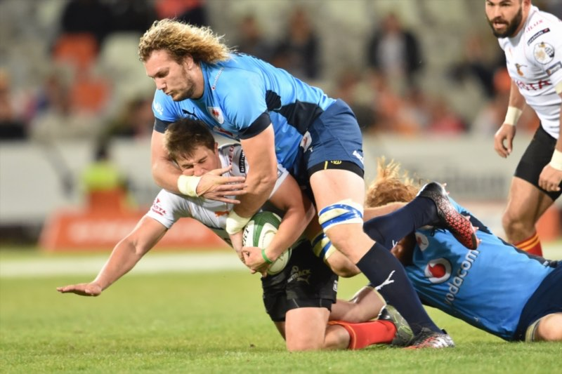 RG Snyman of the Bulls and William Small-Smith of the Cheetahs during the Currie Cup match between Toyota Free State XV and Vodacom Blue Bulls at Toyota Stadium on August 13, 2016 in Bloemfontein, South Africa. Picture: Gallo Images