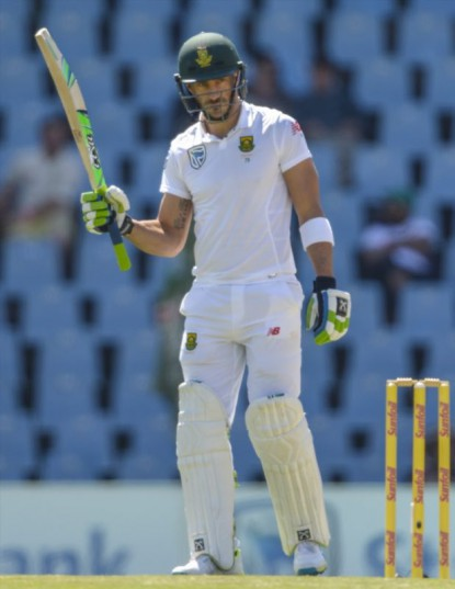 Faf du Plessis celebrates his half century during day 2 of the 2nd Sunfoil International Test match between South Africa and New Zealand at SuperSport Park on August 28. Picture: Gallo Images