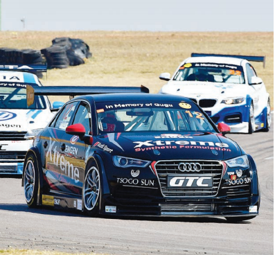 NEW FORMULA. Michael Stephen (Engen Extreme Audi S3) leads Mathew Hodges (VW Motorsport Jetta) and Gennaro Bonafede (Sasol BMW GTC) in yesterday's inaugural Sasol Global Touring Car race at Zwartkops.