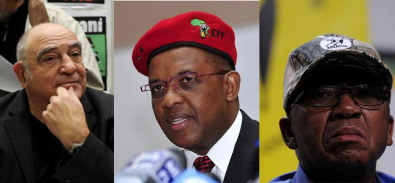 Ronnie Kasrils, Dali Mpofu and Kebby Maphatsoe.