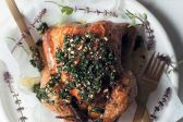 Recipe: Lemon and herb roasted chicken with kale and almond pesto