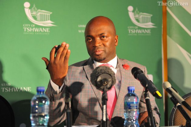 Tshwane Mayor Solly Msimanga speaks to the media, 26 August 2016, at an event where he introduced his mayoral council, at the council chambers in Pretoria. Picture: Michel Bega
