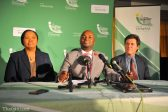 Tshwane Mayor Solly Msimanga (centre) speaks at a press conference, 26 August 2016, where he announced the members of his mayoral committee, at the council chambers in Centurion. With him are the Tshwane Speaker Katlego Matheba (left) and Chief Whip Christian van den Heever (right). Picture: Michel Bega