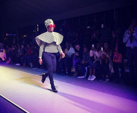 Somizi Mhlongo walks the ramp at Nhlanhla Nciza's show.