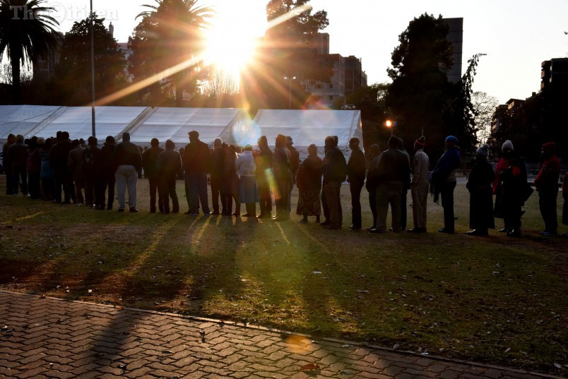 Voters queue to vote in the 2016 Local Government elections at IEC tent in Joubert Park in the JHB CBD , 3 August 2016. Picture: Tracy Lee Stark