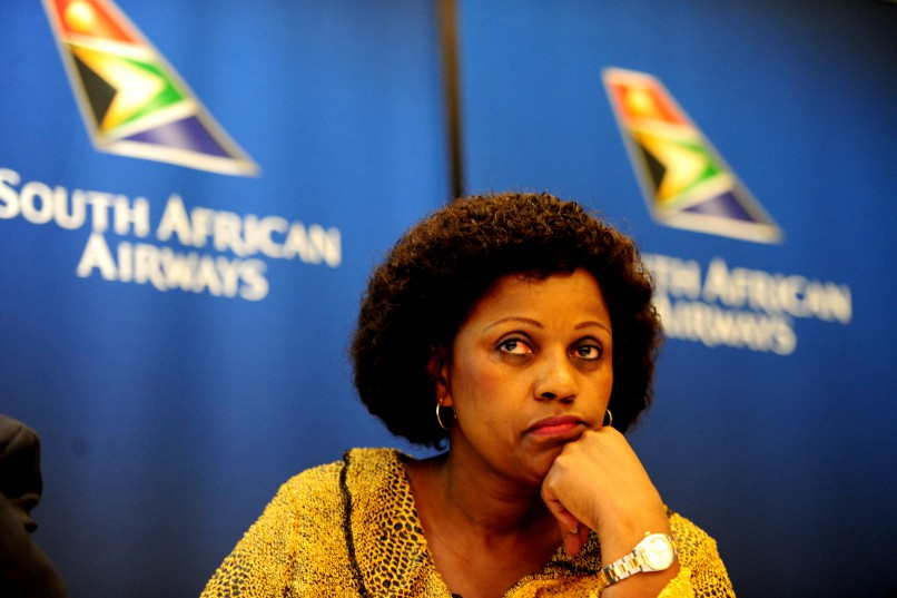 KEMPTON PARK, SOUTH AFRICA – FEBRUARY 1: SAA chairwoman Dudu Myeni during the announcement of its Annual Financial Results for the 2013/2014 Financial Year  on February 1, 2015 in Kempton Park, South Africa. (Photo by Gallo Images / City Press / Muntu Vilakazi)