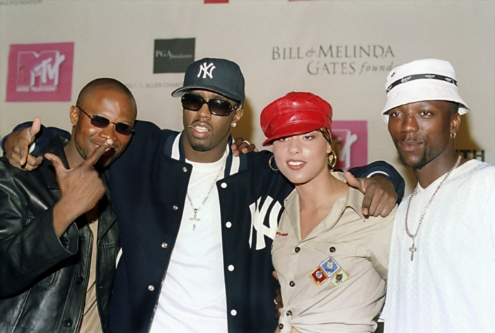 South African kwaito star Mandoza, American superstars P.Diddy and Alicia Keys and South African kwaito star Zola at a press conference in Cape Town shortly before the MTV Aids concert in Greenpoint Stadium. Gallo images