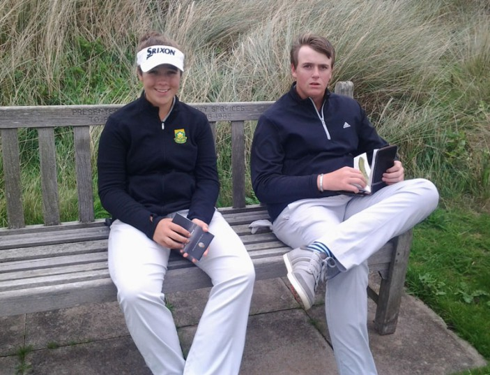 Deon Gerrmishuys and Danielle du Toit ahead of the first round at the Duke of York Young Champions Trophy at Royal Birkdale; credit WGSA.