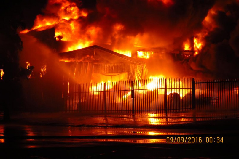 A massive fire burnt oil, factory buildings and eight vehicles, at corner of Diesel and Industrie roads Isando, Kempton Park. PIC. Supplied by DEMS
