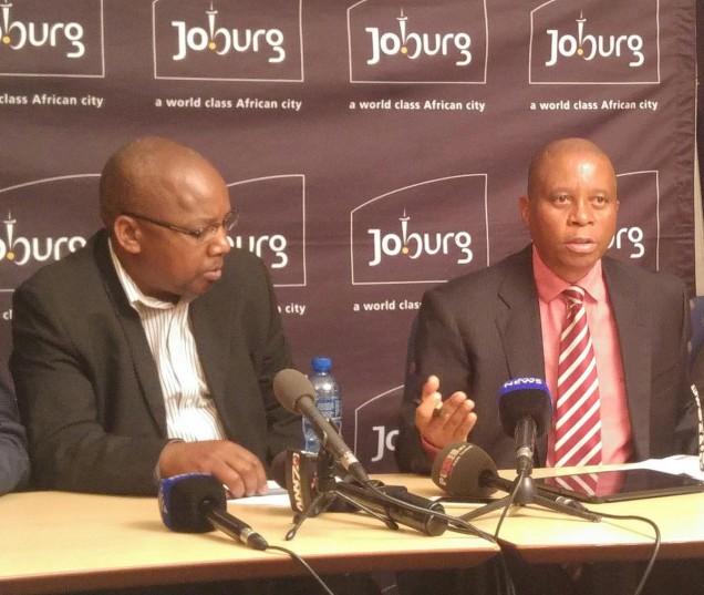 City of Johannesburg mayor Herman Mashaba and Housing MMC Mzobanzi Ntuli brief media on illegal land occupations in the city.