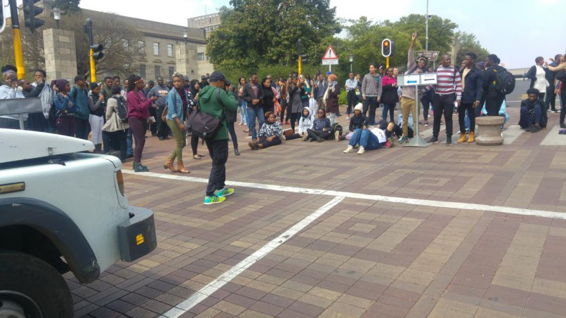 Students protest at Wits University on Monday in protest at looming fee increases and threaten to shut down the institution.