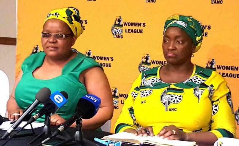 ANCWL secretary general Meokgo Matuba (left) and league president Bathabile Dlamini at a media briefing in Pretoria: ANA (Jonisayi Maromo)