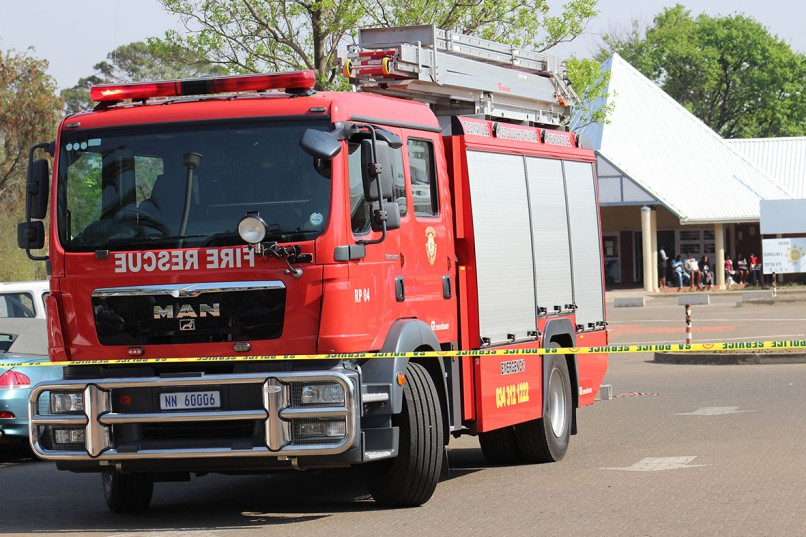 A fire engine parked outside the Provincial Hospital, while emergency personnel searched for the bomb.