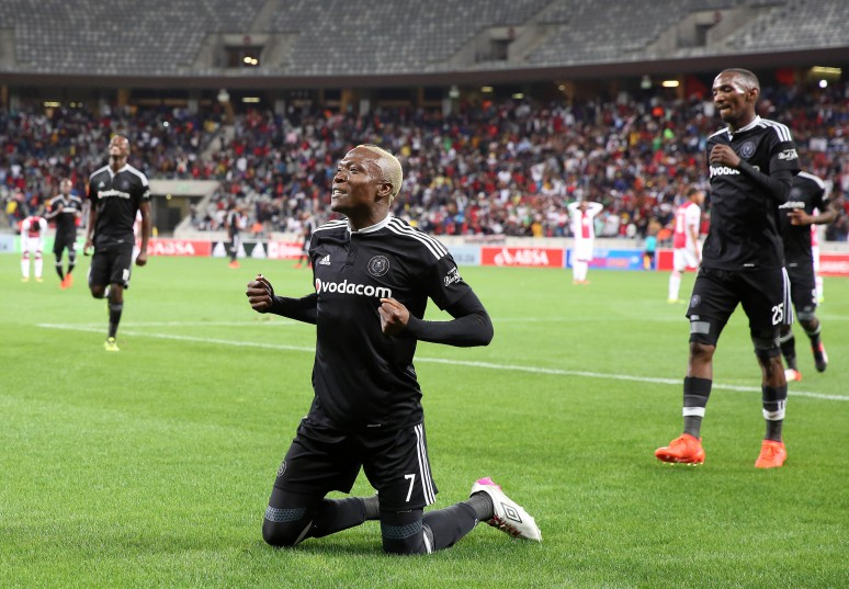 Tendai Ndoro of Orlando Pirates celebrates goal during the Absa Premiership 2016/17 football match between Ajax Cape Town and Orlando Pirates at Cape Town Stadium, Cape Town on 13 September 2016 ©Chris Ricco/BackpagePix