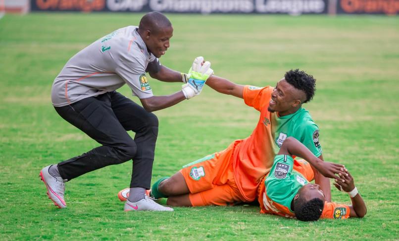 Zesco United goalkeeper Jacob Banda, defender Adama Ben Bahn and Mwape Mwelwa celebrate after Zesco's second goal