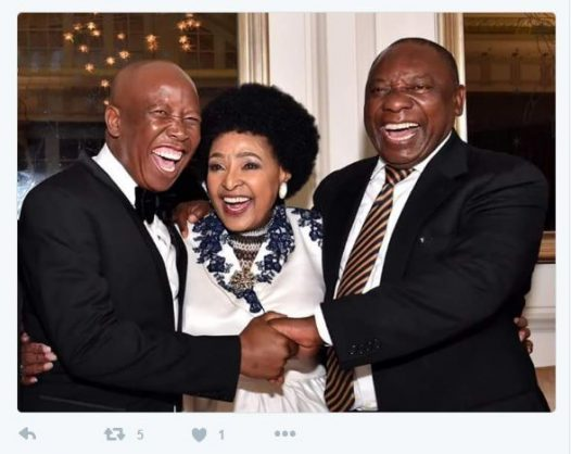 Julius Malema, Winnie Madikizela-Mandela and Cyril Ramaphosa at her 80th birthday.