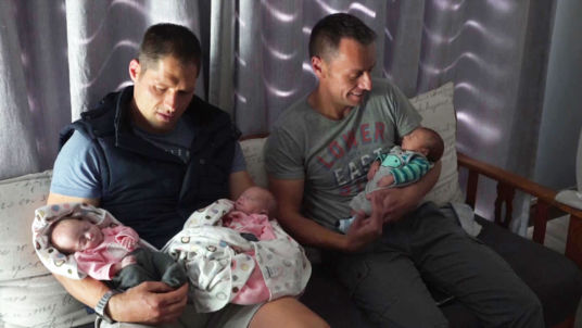 Christo and Theo Menelaou and their triplets Kate,Zoe and Joshua.