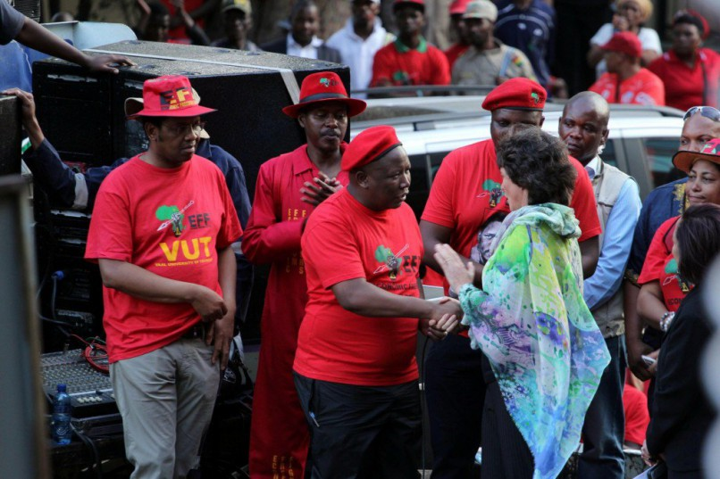 The JSE's Nicky Newton-King meeting with the EFF to accept a memorandum of demands during a march to the JSE in 2015.