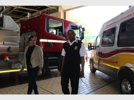 Michele Knight of Brakpan, who suffered a cardiac arrest while travelling through Boksburg North with Leon Ferreira Fire Station manager James Masuku.