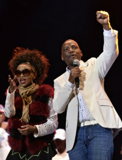 Music star Mercy Pakela and  SABC's controversial chief operations officer Hlaudi Motsoeneng at Orlando Stadium in Johannesburg, 11 September 2016, at the Thank You SABC Music Concert. Picture: Nigel Sibanda