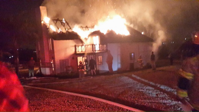 The fire which gutted the house. Picture: Rekord Centurion