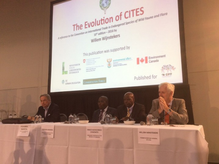 Wilfred Pabst, Permanent Secretary of Zambia Stephen Mwansa, Permanent Secretary of Zimbabwe and Former Secretary General of Cites at a panel opposing shutting down international African lions on Saturday, September 24, at the Sandton Convention Centre, Johannesburg. Picture: Amanda Watson