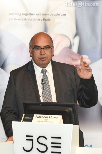 CEO of Oakbay Investments Nazeem Howa gives his remarks during the Gupta family linked company's release of its maiden annual results held at the JSE in Sandton, 08 September 2016. Picture: Refilwe Modise