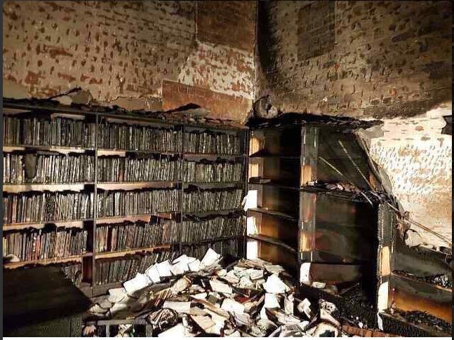 UKZN arson damage to the law library. Picture: Twitter