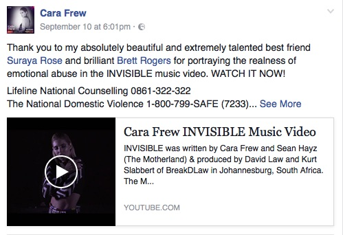 A screenshot of the Invisible music video on Cara Frew's Facebook page.