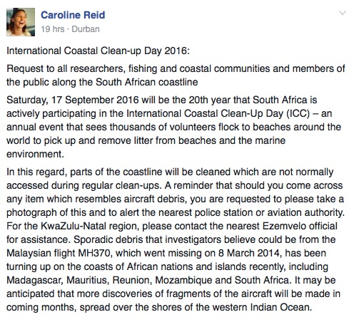 A screenshot of a post about International Coastal Clean-Up Day posted on the #CleanBlueLagoon Facebook page.