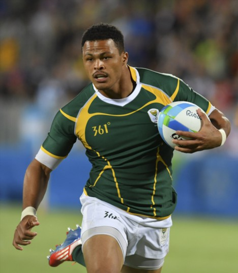 Juan de Jongh of South Africa during the bronze medal Sevens match between South Africa and Japan on day 6 of the Olympics at Deodoro Stadium on August 11, 2016 in Rio de Janeiro, Brazil. (Photo by Roger Sedres/Gallo Images)