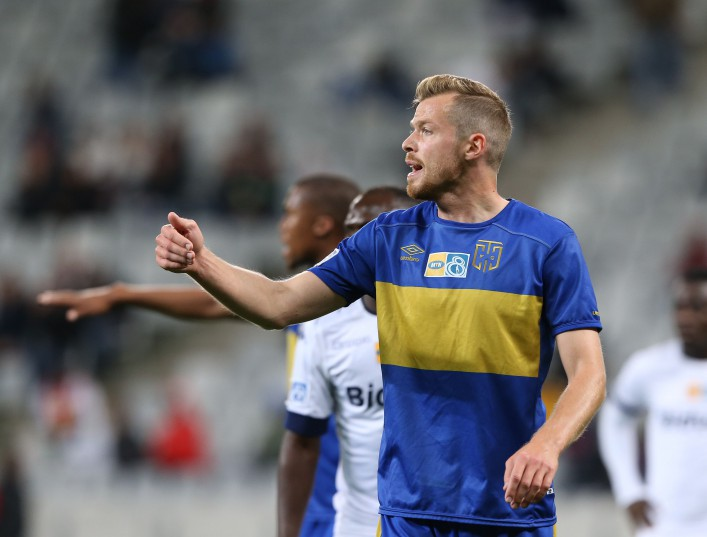 CAPE TOWN, SOUTH AFRICA - SEPTEMBER 17: Renars Roda of Cape Town City FC during the MTN 8 Semi Final, 2nd Leg match between Cape Town City FC and Bidvest Wits at Cape Town Stadium on September 17, 2016 in Cape Town, South Africa. (Photo by Carl Fourie/Gallo Images)