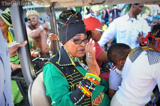 Winnie Madikizela-Mandela arrives at her birthday celebreations at Vilakazi Street in Soweto, 25 September 2016. Madikizela-Mandela turns 80 on 26 September. Organised by the ANC Women's League the event was titled a cultural carnival as attendees also celebrated Heritage Day, which occurred over the weekend. Picture: Michel Bega