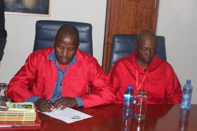 EFF secretary Alfred Skhosana (left) shown the boot