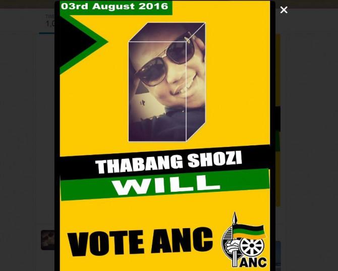 Screenshot of Thabang Shozi's ANC banner.