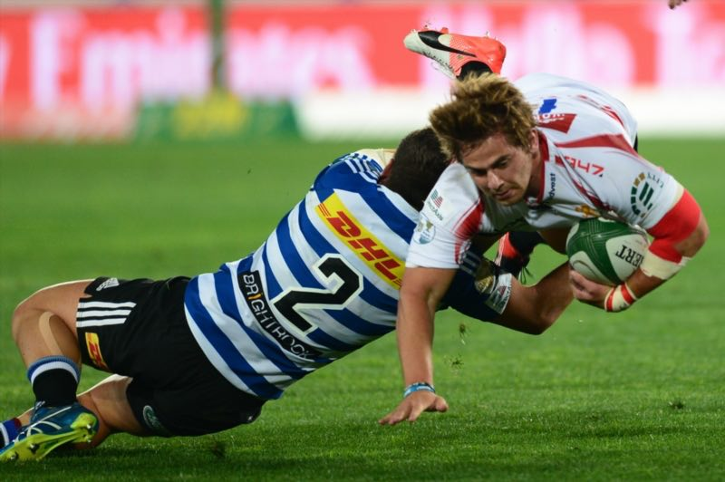 Mike Wilemse of WP tackles Rohan Janse van Rensburg of the Lions during the Currie Cup match between Xerox Golden Lions and DHL Western Province at Emirates Airline Park on September 09, 2016 in Johannesburg, South Africa. Picture: Gallo Images