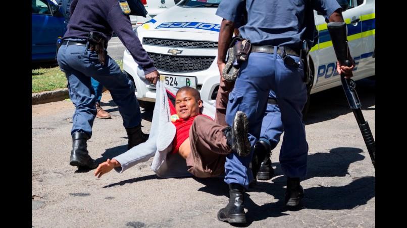 Violent scenes at Rhodes University on Wednesday.